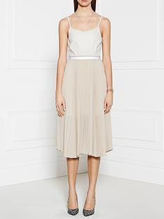 pinko-range-pleated-dress-white