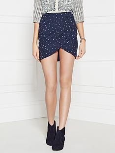maison-scotch-star-print-skirt-navy