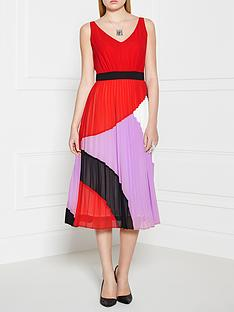 pinko-serigrafia-pleated-dress-red