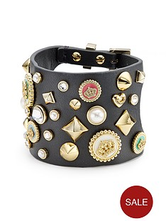 juicy-couture-multi-stud-charm-leather-cuff-black
