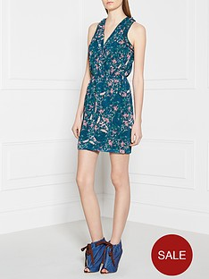 maison-scotch-monet-print-racer-back-dress-green