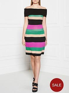 ppq-cream-label-striped-off-shoulder-sundress-black