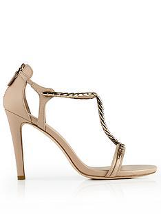 lola-cruz-t-bar-chain-detail-sandals-peach