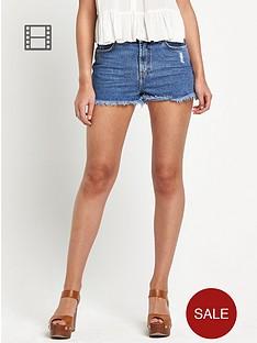 river-island-high-waist-denim-shorts