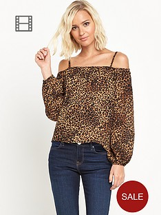 river-island-printed-cold-shoulder-top