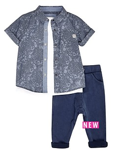 river-island-mini-boys-denim-shirt-top-and-joggers-set-3-piece