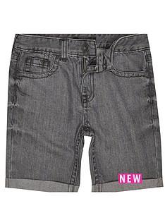 river-island-solid-grey-denim-shorts