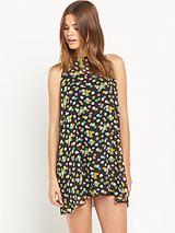 Cutaway Halter Style Bubble Dress - Multi