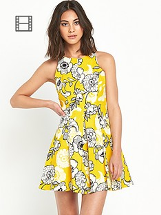 river-island-yellow-floral-print-skater-dress