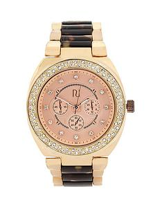 river-island-bling-crystal-bezel-tortoiseshell-and-yellow-gold-tone-ladies-watch