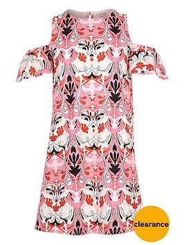 river-island-girls-printed-cold-shoulder-dress