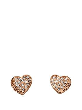 guess-rose-gold-plated-crystal-set-pave-heart-earrings