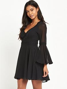 lipsy-long-sleeve-lace-trim-skater-dress