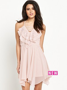 lipsy-ruffle-lace-up-dress