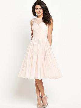 Little Mistress Embellished Sheer Midi Dress