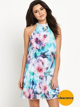 lipsy-bluenbspfloral-pleated-swing-dress