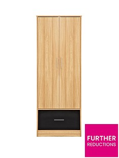kidspace-ohio-2-door-1-deep-drawer-wardrobe-black-pink