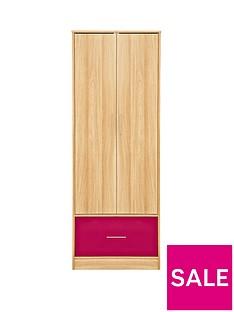 Kidspace Ohio 2-Door, 1 Deep-Drawer Wardrobe - Black, Pink