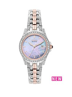 citizen-citizen-eco-drive-silhouette-crystal-mother-of-pearl-dial-rose-gold-two-tone-bracelet-ladies-watch