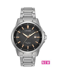 citizen-citizen-eco-drive-black-dial-rose-gold-tone-accent-titanium-bracelet-mens-watch