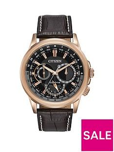 citizen-citizen-eco-drive-calendrier-black-dial-day-date-rose-gold-tone-case-dark-brown-leather-strap-mens-w