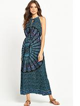 Printed Halter Neck Beach Dress