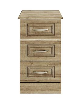 Consort Dorchester Ready Assembled 3-Drawer Bedside Cabinet