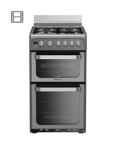 Hotpoint Ultima HUG52G 50cm Double Oven Gas Cooker with FSD - Graphite