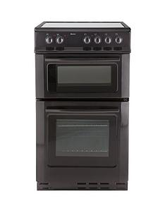 Swan SX2021B 50cm Wide Ceramic Twin Cavity Freestanding Electric Cooker - Black