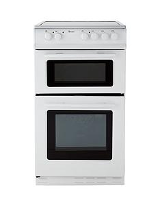 Swan SX2021W 50cm Wide Ceramic Twin Cavity Freestanding Electric Cooker - White