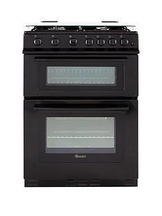 Swan SX2061B 60cm Wide Freestanding Gas Double Oven Cooker - Black