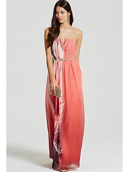 little-mistress-feather-print-bandeau-maxi-dress