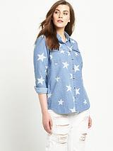 Star Print Denim Shirt