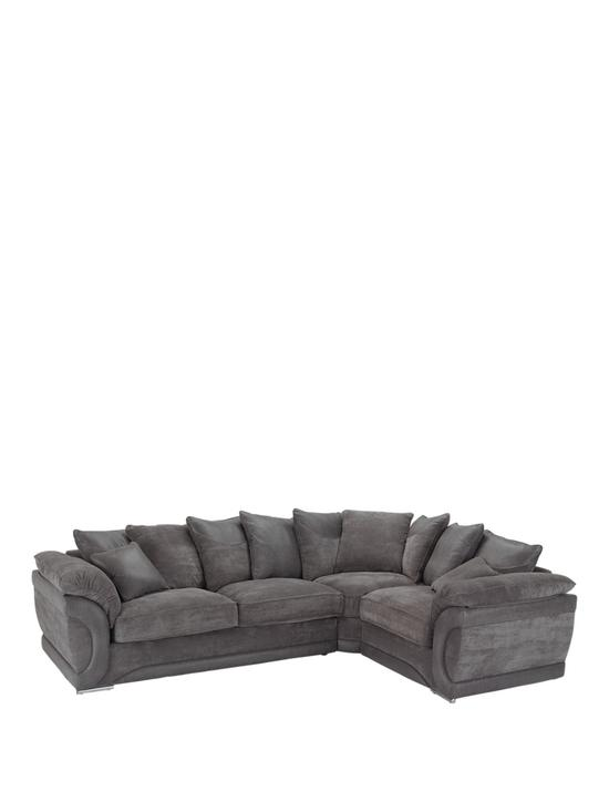 Maze Fabric and Faux Leather Right Hand Scatter Back Corner Group Sofa