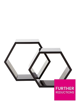 set-of-2-hexagon-shelves-grey