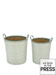 set-of-2-laundry-hampers-green
