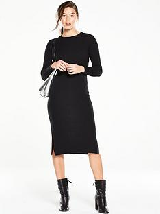 v-by-very-ribbed-zip-back-midi-bodycon-knit-dressnbsp