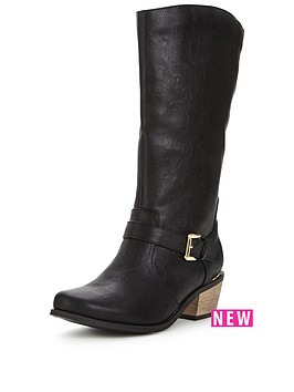 so-fabulous-clifton-western-detail-gold-trim-calf-boot-black-wide-fit