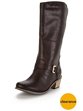 v-by-very-clifton-western-detail-gold-trim-calf-boot-brown-wide-fit