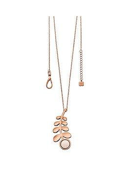 orla-kiely-rose-gold-plated-leaf-and-stone-pendant