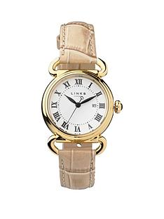 links-of-london-driver-yellow-gold-plated-case-with-almond-leather-strap-ladies-watch