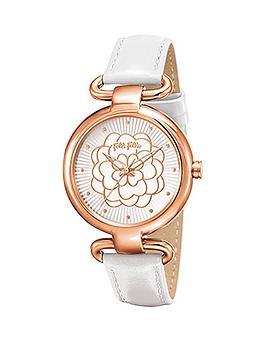 folli-follie-santorini-flower-rose-gold-case-with-white-leather-strap-ladies-watch