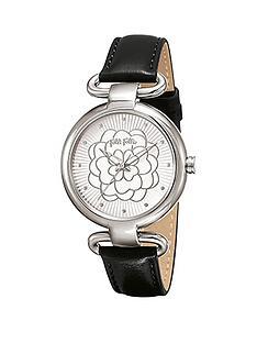 folli-follie-santorini-flower-stainless-steel-case-with-black-leather-strap-ladies-watch