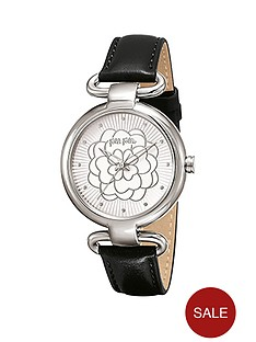 folli-follie-santorini-flower-stainless-steel-case-with-black-leather-strap-ladies-watch