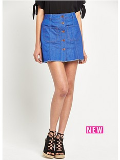river-island-a-line-denim-mini-skirt-with-raw-hem-and-button-down-front