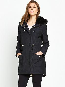 ted-baker-quilted-panel-dipped-hem-parka-navy