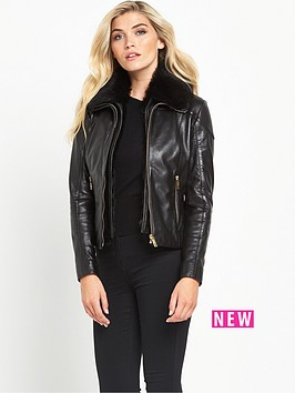 ted-baker-faux-fur-collar-leather-jacket