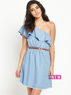 river-island-one-shoulder-frill-denim-dress