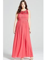 Embroidered Empire Maxi Dress