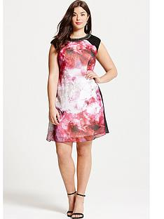 little-mistress-curve-blurred-floral-print-embellished-neck-shift-dress
